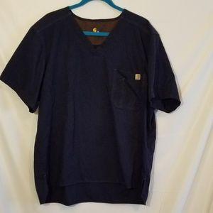 Carhartt scrub shirt Navy blue  Sz XL Pocket front